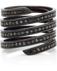 Lynn Ban - Black Rhodium Silver Diamond Ring - Lyst