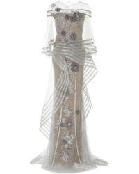 Marchesa - Metallic Floral-appliqué Tulle Gown - Lyst