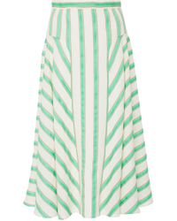 Delpozo - Striped Linen-blend Midi Skirt - Lyst