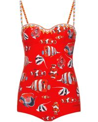 Dolce & Gabbana - Sweetheart Fishes Swimsuit - Lyst