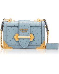Prada Ostrich Cahier Shoulder Bag - Blue