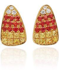 Khai Khai - 18k Gold, Sapphire, And Diamond Earrings - Lyst