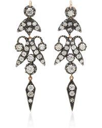 Montse Esteve - Double-tiered Oxidized Silver Diamond Earrings - Lyst