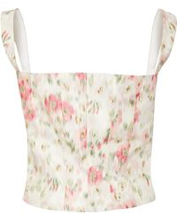 Brock Collection - Tayten Floral-print Silk-voile Corset Top - Lyst