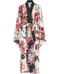 Dolce & Gabbana - Peony Print Jacquard Trimmed Stretch Silk Kimono Robe - Lyst