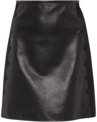 RED Valentino - Scalloped Leather Mini Skirt - Lyst
