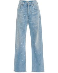 Citizens of Humanity - Parker Pearl-embellished Straight-leg Jeans - Lyst