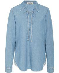 Nili Lotan - Mallory Cotton-chambray Shirt - Lyst
