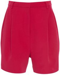 Sally Lapointe Pleated Stretch-crepe Shorts