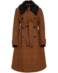 Wales Bonner Houndstooth A-line Wool Coat - Brown