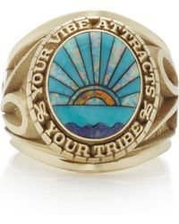 Jacquie Aiche - 14k Yellow Gold, Lapis, Turquoise And Opal Signet Ring - Lyst