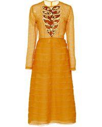 Bottega Veneta - Tiered Silk Midi Dress - Lyst