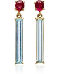 Yi Collection - 18k Gold, Ruby And Aquamarine Bar Earrings - Lyst
