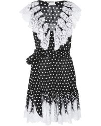 Miguelina - Payton Lace-trimmed Polka-dot Cotton-voile Mini Dress - Lyst