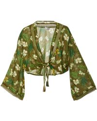 Miguelina - Zaida Tie-front Floral-print Voile Top - Lyst