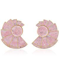 Monica Sordo - Nautilus Earfan 24k Gold-plated Brass Rodonite Earrings - Lyst