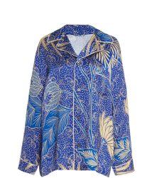 The Elder Statesman - Betony Printed Silk Pajama Top - Lyst