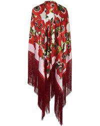 Dolce & Gabbana - Floral-print Fringed Silk Shawl - Lyst
