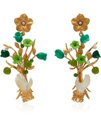 Of Rare Origin - Malachite, Jade And Mother-of-pearl Blossom Earrings - Lyst