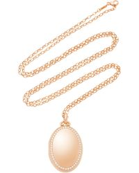 """Monica Rich Kosann - M'onogrammable 18k Rose Gold And Diamond """"premier"""" Four Image Oval Locket On 32"""" Chain - Lyst"""