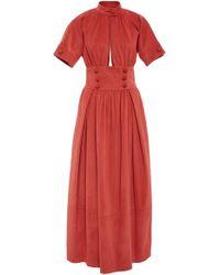 Rosie Assoulin - Button-embellished Cotton Maxi Dress - Lyst