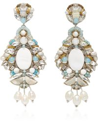 Ranjana Khan - M'o Exclusive White Fringe And Mother Of Pearl Hoop Drop Earring - Lyst