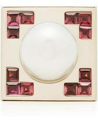 Alina Abegg - Crop 18k Rose Gold, 18k White Gold, Pink Tourmaline And Pearl Circle Ring - Lyst