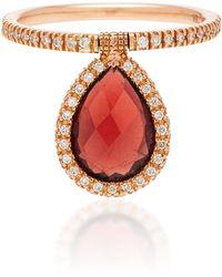 Nina Runsdorf - Medium Flip 18k Rose Gold, Diamond And Garnet Ring - Lyst