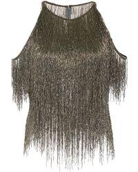 Naeem Khan - Fringe-detailed Cold-shoulder Tulle Top - Lyst