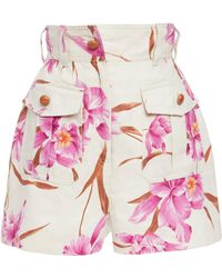 Zimmermann - Corsage Belted Printed Linen Shorts - Lyst