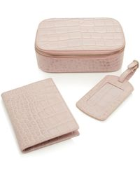 POP AND SUKI - M'onogrammable 3 Piece Travel Set In Pink Croco - Lyst