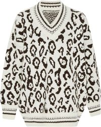Ermanno Scervino - Leopard-print Intarsia-knit Cashmere And Wool-blend Jumper - Lyst
