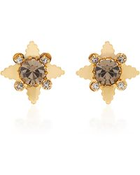 Nicole Romano - 18k Gold-plated Star Crystal Stud Earrings - Lyst