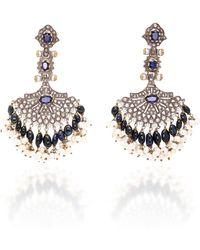 Sanjay Kasliwal - Indo-russian 14k Gold, Pearl, Sapphire And Diamond Earrings - Lyst