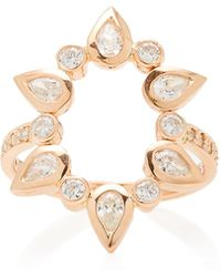 Jacquie Aiche - 14k Rose Gold Diamond Open Circle Ring - Lyst
