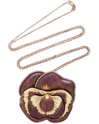 Silvia Furmanovich - Sculptural Botanical Marquetry Purple Pansy Brooch/necklace - Lyst