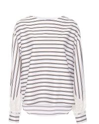 Alexis Mabille - College Striped Lace Bateau Top - Lyst