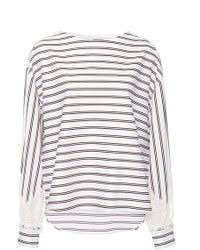 Alexis Mabille - University Striped Lace Bateau Top - Lyst