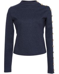 Alexis Mabille - Denim Jersey Buttoned Top - Lyst