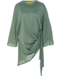 Pyer Moss Curtain-draped Cotton Blouse