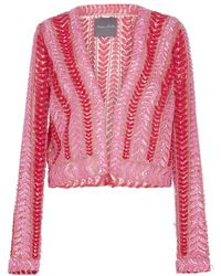 Monique Lhuillier | Embellished Cropped Cardigan | Lyst
