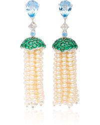 Anabela Chan - Blue Topaz Convertible Pearl Tassel Earrings - Lyst