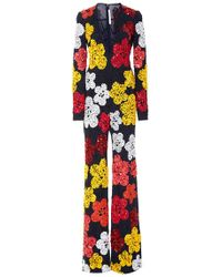 Naeem Khan - Beaded Floral Plunging V-neck Wide-legged Jumpsuit - Lyst