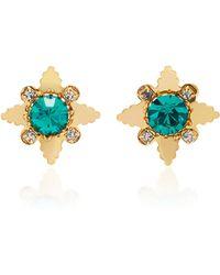 Nicole Romano | 18k Gold-plated Star Crystal Stud Earrings | Lyst