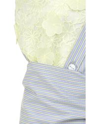 ANOUKI - Stripe Floral Lace Shirting Top - Lyst