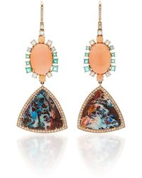 Nina Runsdorf - M'o Exclusive One-of-a-kind Yahwah Opal And Coral Earrings - Lyst