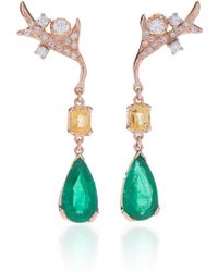 Federica Rettore - Emerald Drop Earrings - Lyst