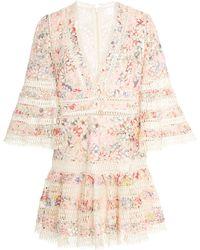 Zimmermann - Lovelorn Floral Flutter Cotton Dress - Lyst