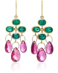 Mallary Marks - Trapeze 18k Gold, Emerald And Rubellite Briolette Earrings - Lyst