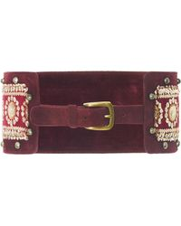 Anna Sui - Embroidered Suede Belt - Lyst